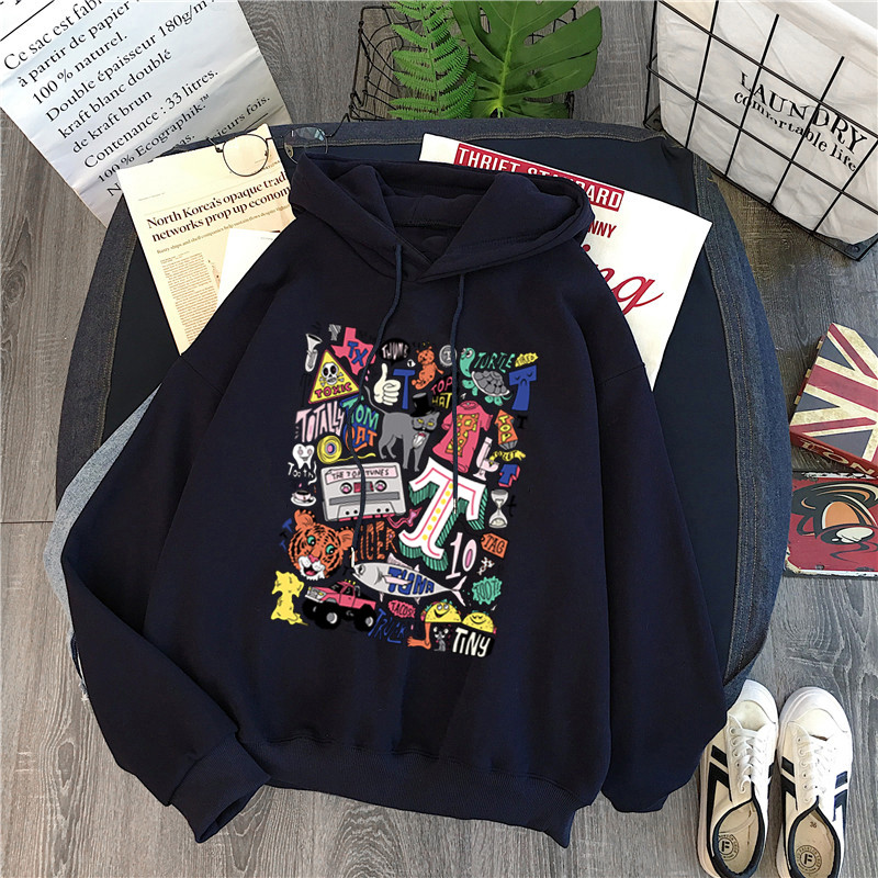 Winter Plus Velvet Women Clothing Long Sleeved Print Messy Comics Harajuku Women Hoodies Sweatshirt Fashion Pocket Lady Pullover