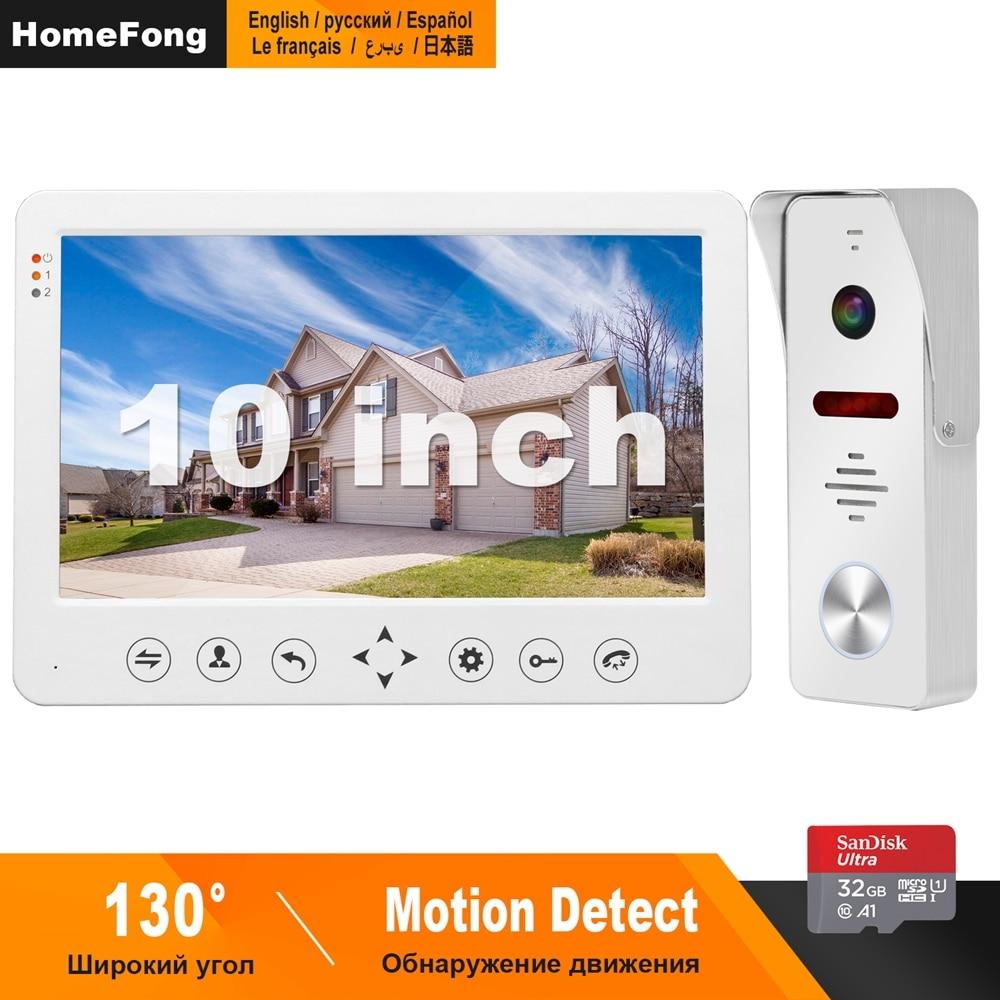 HomeFong, Video, intercomunicador de 10 pulgadas teléfono Video de la puerta 1200TVL ancho ángulo de cámara de vídeo timbre portero automático para hogar Sistema de Control de Acceso