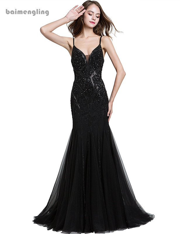 black evening dress, long formal spaghetti straps mermaid dress