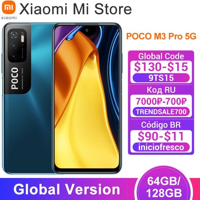 "Global Version POCO M3 Pro 5G Cellphone 64 /128GB ROM Dimensity 700 Octa Core 6.5"" 90Hz Display 48MP Triple Camera 5000mAh NFC 1"