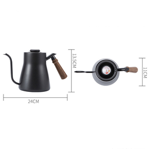 Image 5 - Drip Kettle 850ML Coffee Tea Pot Stainless Steel Teflon Coffee Drip Kettle with Creative Thermometer with wooden handle