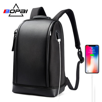 BOPAI USB External Charge Anti Theft Laptop Backpack Travel Large Capacity 15.6 Inch Backpacking Leather Waterproof Bagpack Men rowe 15 6 inch laptop backpack large capacity waterproof men backpack anti theft travel teenage backpack bag bagpack mochila new