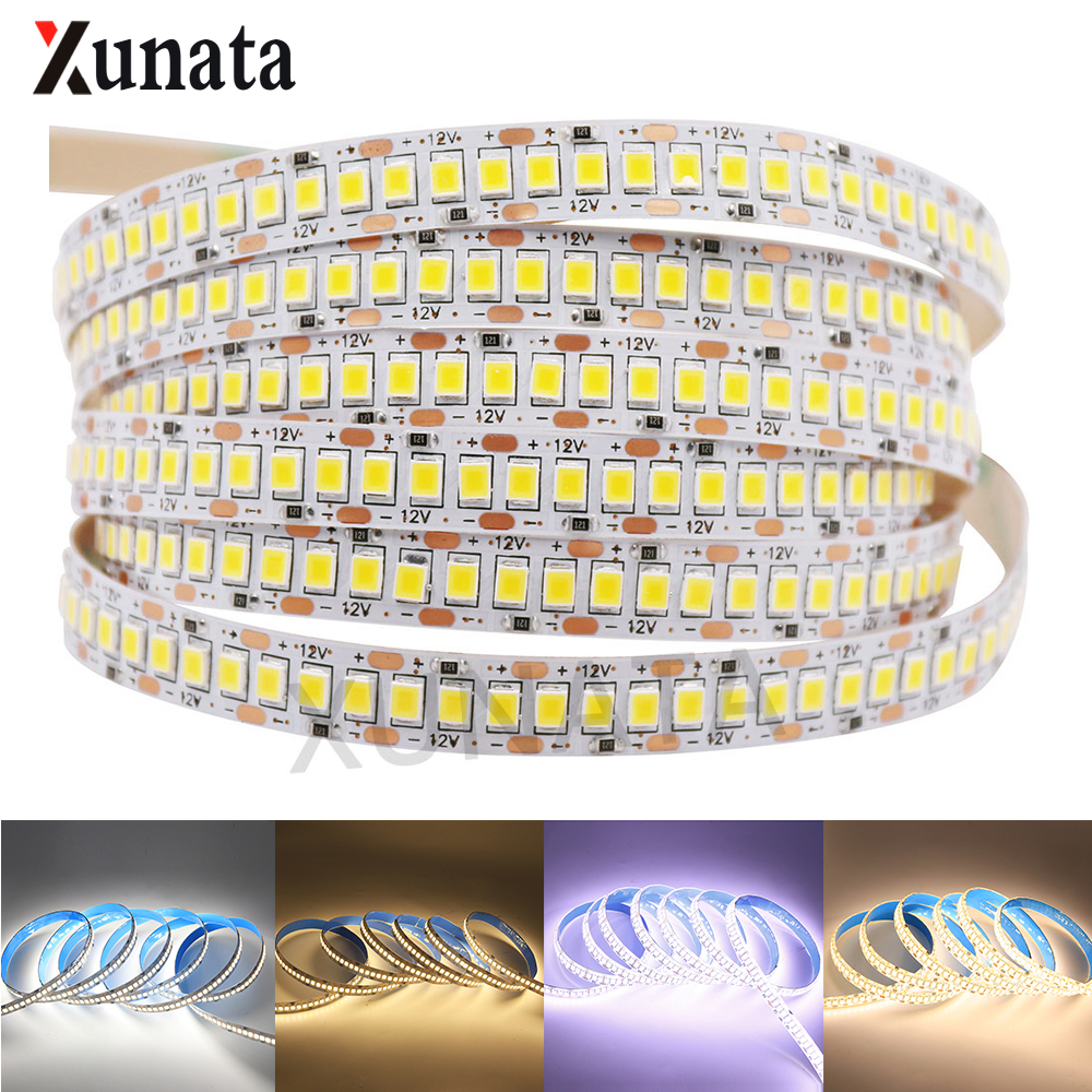LED Strip Light DC 12V SMD2835 5m Led Light Strip 240Leds/m Waterproof Led Tape Ribbon Light Warm White White Flexible LED Strip