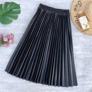 Neophil Ladies Black PU Fur Faux Leather Midi Skirt Thick Winter Pleated High Waist Vintage Mid-calf Women Longa Saia S2101