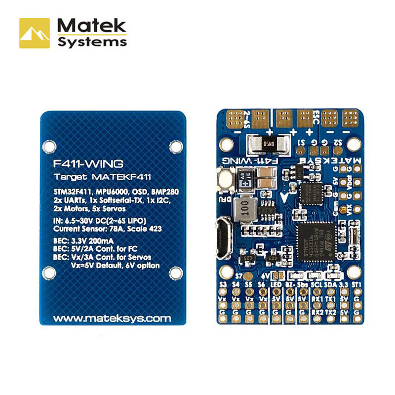 Matek Systems F411-WING F411 (New) STM32F411 Flight Controller Built-in OSD For RC Airplane Fix-wing FPV Drone