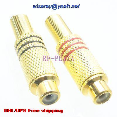 DHL/EMS 500pcs Connector RCA TV Female Jack Clamp RG58 RG142 LMR195 RG400 Cable Straight -A3