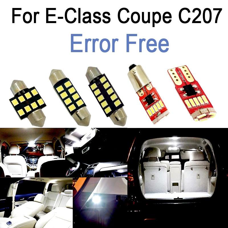 White LED plate bulb + LED interior dome mirror light For Mercedes E class Coupe C207 E200 E250 E300 E350 E400 E500 E550 (09-16)