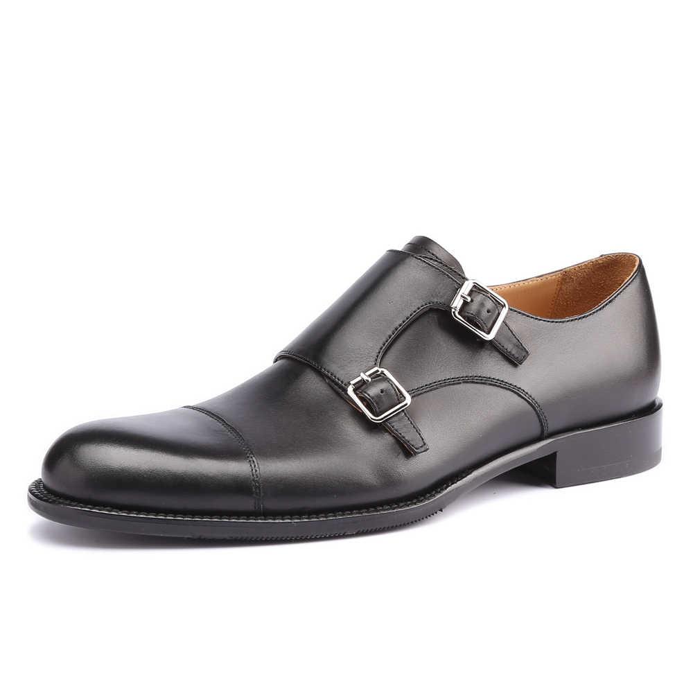 Elbise ayakkabı erkekler hakiki deri Vintage Retro özel Blake el yapımı ofis moda örgün düğün parti keşiş ayakkabı