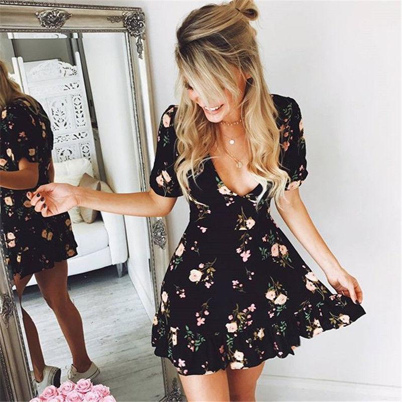 Fashion Women V-Neck Floral Chiffon Wrap Boho Mini Dress Summer Short Sleeve Holiday Beach Party Dress Female Sundress Vestidos