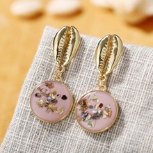 TUKER 1 Pair Creative Retro Women Shell Earrings Stylish Round Gravel Dangle Earrings For Ladies