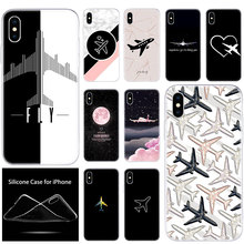 Soft Silicone Phone Case aircraft Airplane fly travel in the Sky for