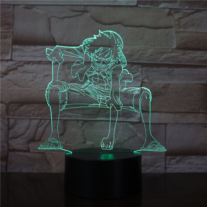 3D Led Night Light Lamp One Piece Monkey D Luffy Figure Room Deco Base Color Changing Kids Atmosphere Child Birth Gift 2800