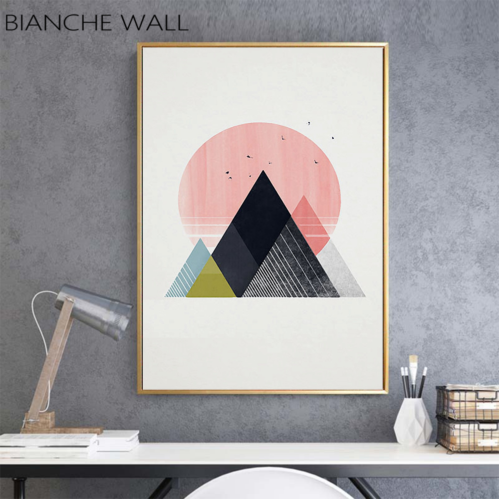 Nordic Simple Creative Geometric Sun Mountain Peaks Abstract Poster Wall  Picture Canvas Painting for Living Room Decor