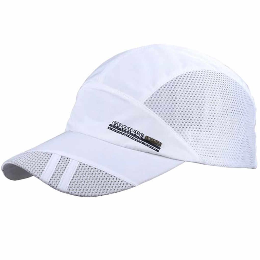 Letnia oddychająca siatkowa czapka z daszkiem szybkoschnący czapki dla mężczyzn kobiety moda czapka bejsbolówka regulowane bawełniane czapki niebieski szary