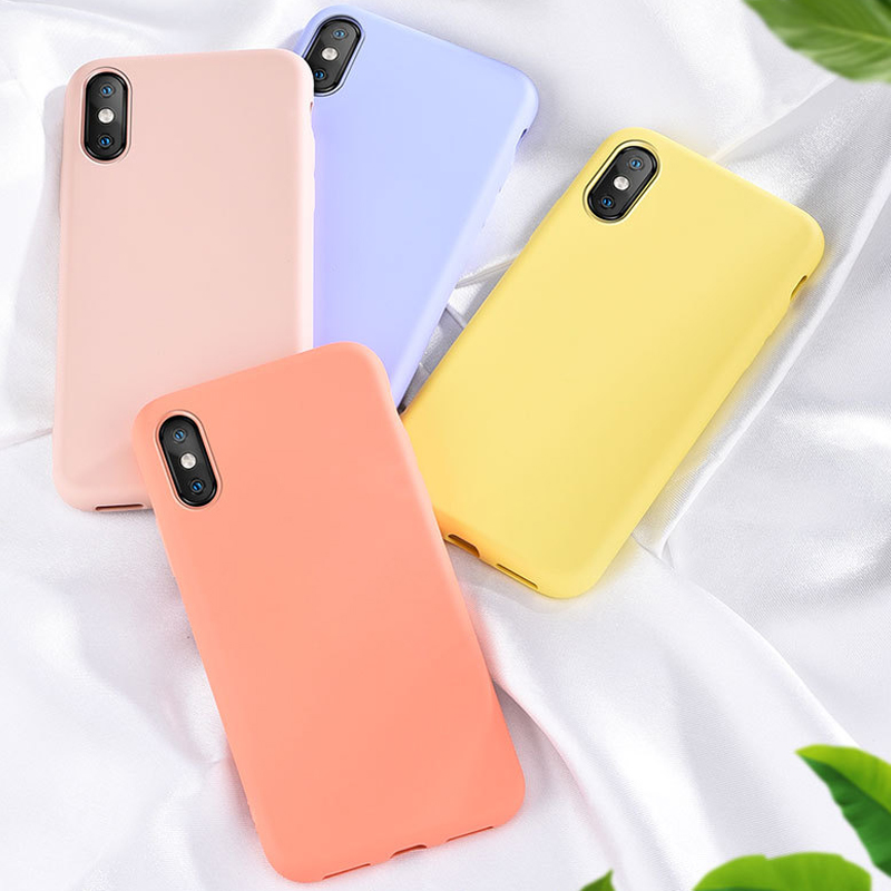 <font><b>Original</b></font> <font><b>Silicone</b></font> Solid Color <font><b>Case</b></font> for <font><b>iPhone</b></font> XS 11 Pro MAX XR <font><b>X</b></font> XS Max Candy Phone <font><b>Cases</b></font> for <font><b>iPhone</b></font> 11 7 6 6S 8 Plus Soft Cover image