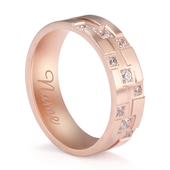 Personalized Custom Name Wedding Engagement Love Rose Gold Color Stainless Steel Zircon Finger Ring Gift For Woman Man Jewelry