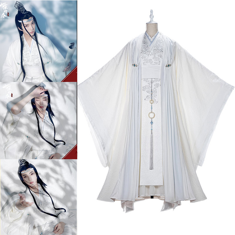 The Untamed TV Series Lan Zhan Mo Dao Zu Shi Lan Wangji Cosplay Costume Full Set Shoes Wig Chinese Ancient With Accessories Hall