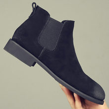 British style mens casual big size comfortable chelsea boots cow leather shoes pointed toe ankle boot botines hombre bota zapato(China)