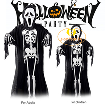 Ghost Dress Gloves Robes Cosplay-Costume Halloween Party Kids Skeleton Skull Adult Horror