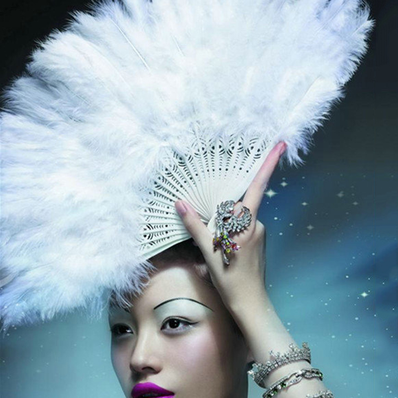 Folding Soft Fluffy Hand Held Fan Chinese Style Dance Soft Colorful Feather Fan Flapper Burlesque Wedding Ladies Fancy Dress