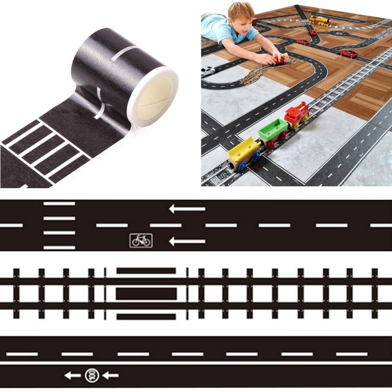 5Mx48MM Railway Road Paper Tape Creative DIY Traffic Road Adhesive Marking Tape Scrapbooking Sticker Label For Kids Toy Car Play