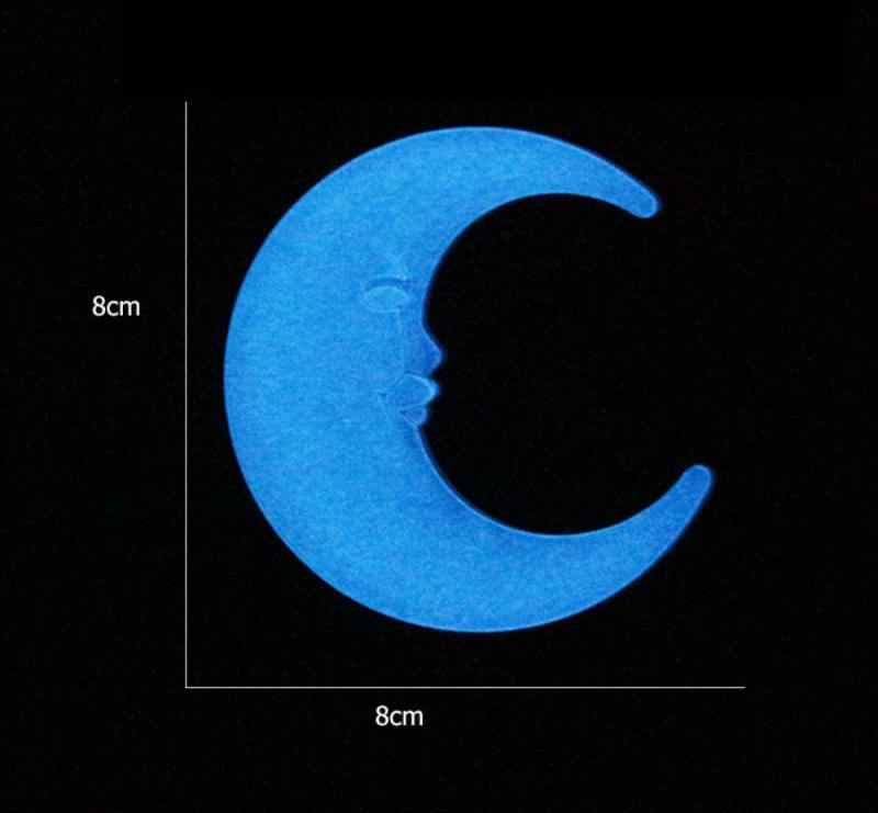 Children Room Wall Stickers Moon Energy Storage Fluorescent Luminous Moon Wall Decal Glow In the dark Household Decor Stickers