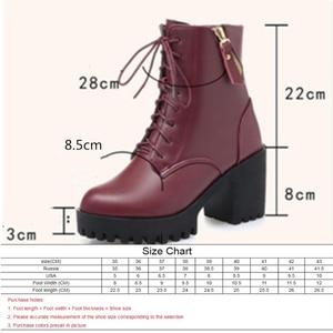 Image 3 - AIYUQI Botas de piel auténtica con tacón grueso para mujer, botas de lana cálidas, zapatos de boda, color rojo, para invierno, 2020