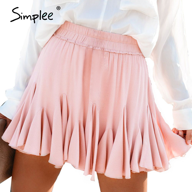 Simplee Elastic High Waist Summer Skirt Women A-line Ruffled Female Short Skirt Streetwear Plus Size Solid Ladies Mini Skirt