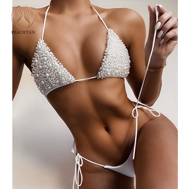 Peachtan Sexy Pearl Bikinis 2020 Mujer Triangle Swimsuit Female Thong Swimwear Women String Bathing Suit Halter Swimming Suit