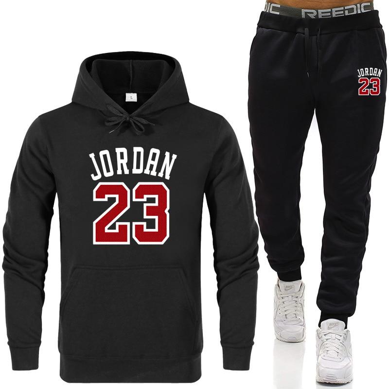 JORDAN 23 Hoodies Autumn Winter Hot Sale Men Sets Hoodie+pants Two Pieces Sets Casual Tracksuit Male Sportswear Fitness Trouser