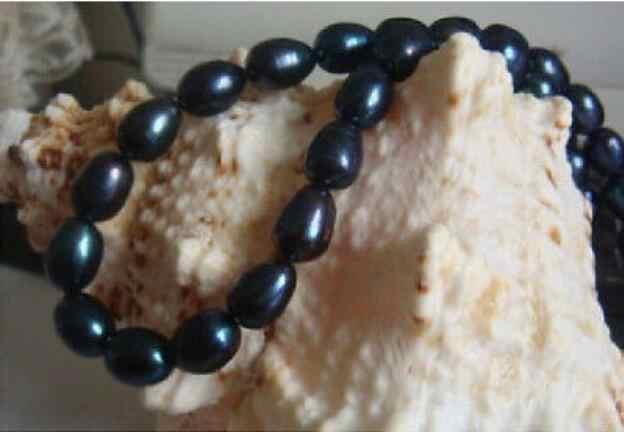 Bijoux collier de perles surprenant sud se9-10mm noir naturel collier de perles 18 pouces 14k livraison gratuite
