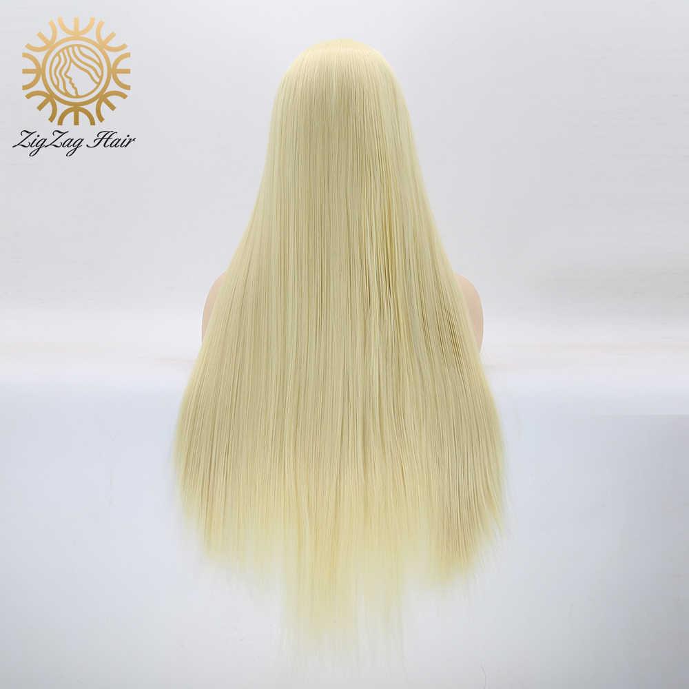 Perruque Lace Front Wig partielle longue et lisse | Perruque synthétique en ZigZag, Blonde blanchiment #613, 13x6, naissance des cheveux naturelle, attachée à la main, quotidienne