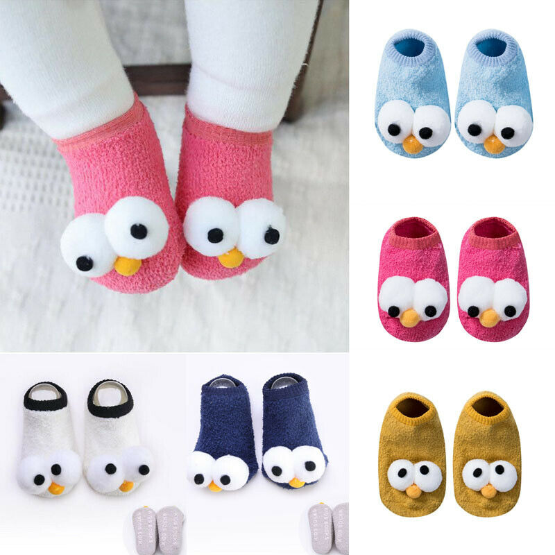 Hot New Cute Newborn Kids Baby Girls Boys Anti-Slip Warm Cartoon Socks Slipper Shoes Boots