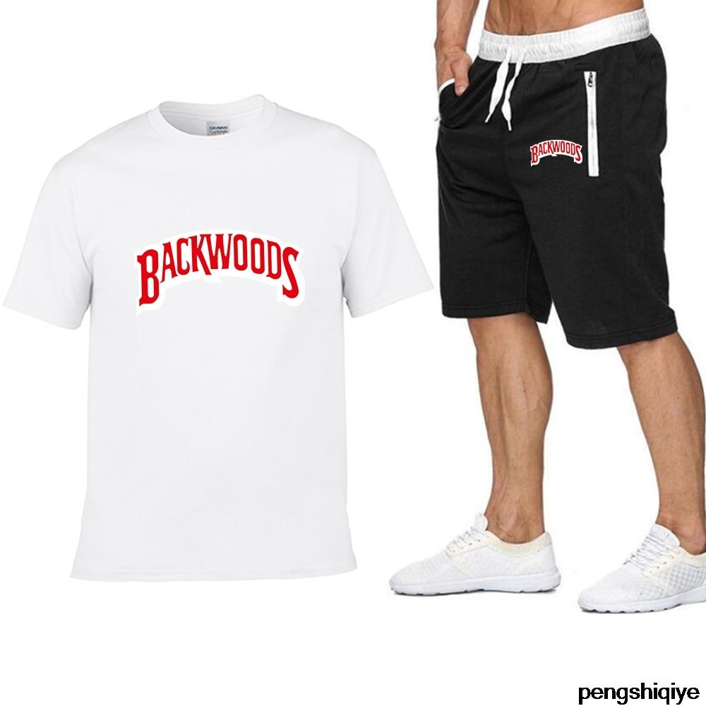 2020 New Pocket Zip Pants Set 2 Pieces Men Sets Hot Male Men Letter Print Set Fitness Summer Print Men Shorts+T Shirt Men's Suit