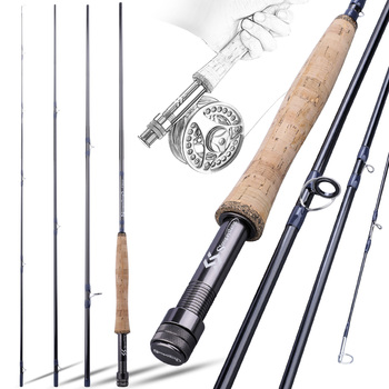fly fishing rod 6 7 7 8 8 9 saltwater freshwater fly rod with a grade corkwood handle carp rod full aluminum reel seat Sougayilang UltraLight Portable 9ft Fly Fishing Rod EVA / Metal Handle 2.7M #5 #8 Fly Rod Fast Action River Lake Fishing Tackle
