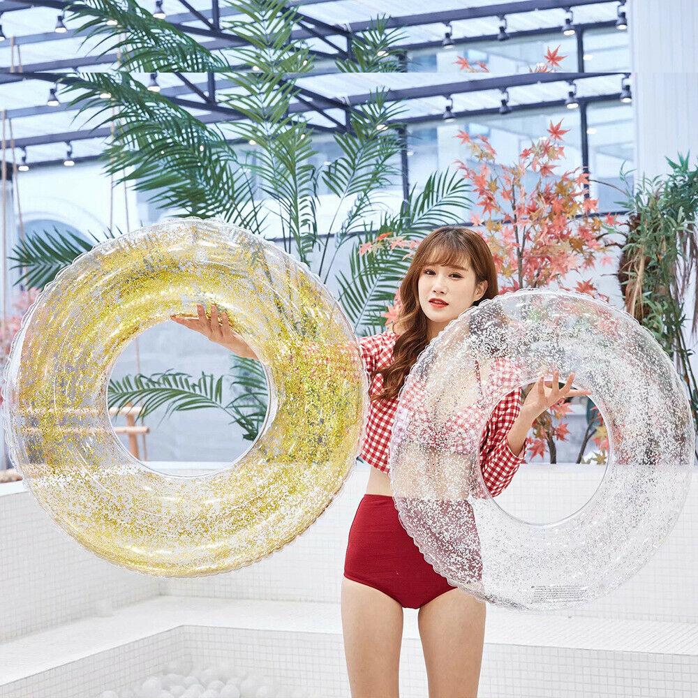 Wholesale Transparent Inflatable Swim Tube Glitter Raft Round Swim Ring For Summer Pool