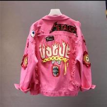 Высококачественная джинсовая куртка, новая весенне-осенняя женская джинсовая куртка с принтом граффити и алфавита, с кружевным бантом, с дырками, джинсовая куртка базовое пальто WF004