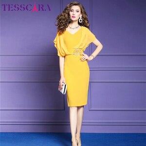 Image 4 - TESSCARA elegante vestido de oficina de verano para mujer, moda femenina, vestido de fiesta tipo lápiz, Estilo Vintage, de gasa, diseño Imperio