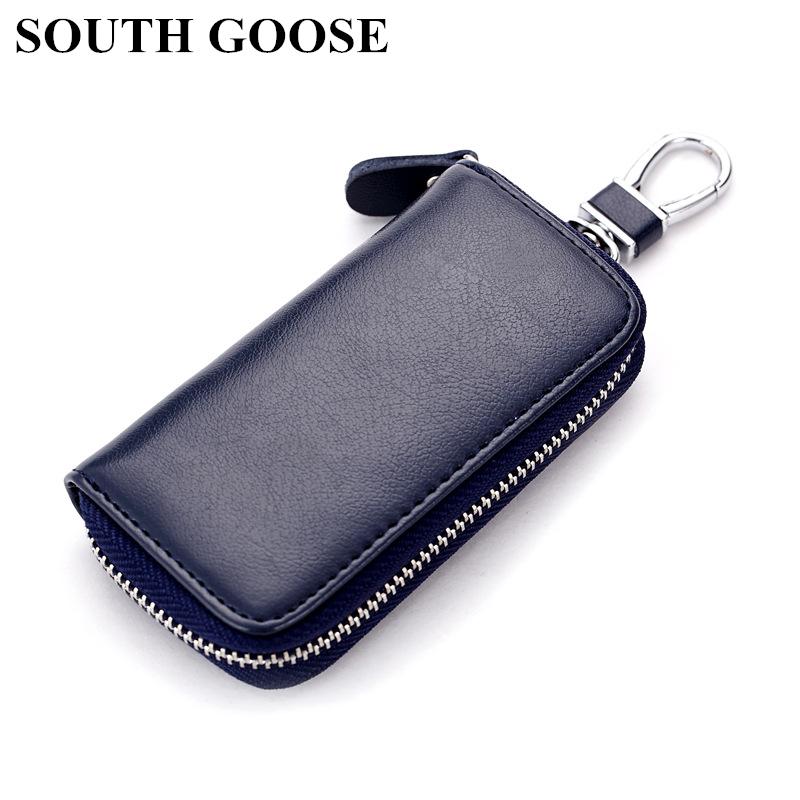 SOUTH GOOSE Genuine Leather Unisex Key Wallet Multifunction Keys Organizer Fashion Men Car Key Holders Ladies Smart Housekeeper