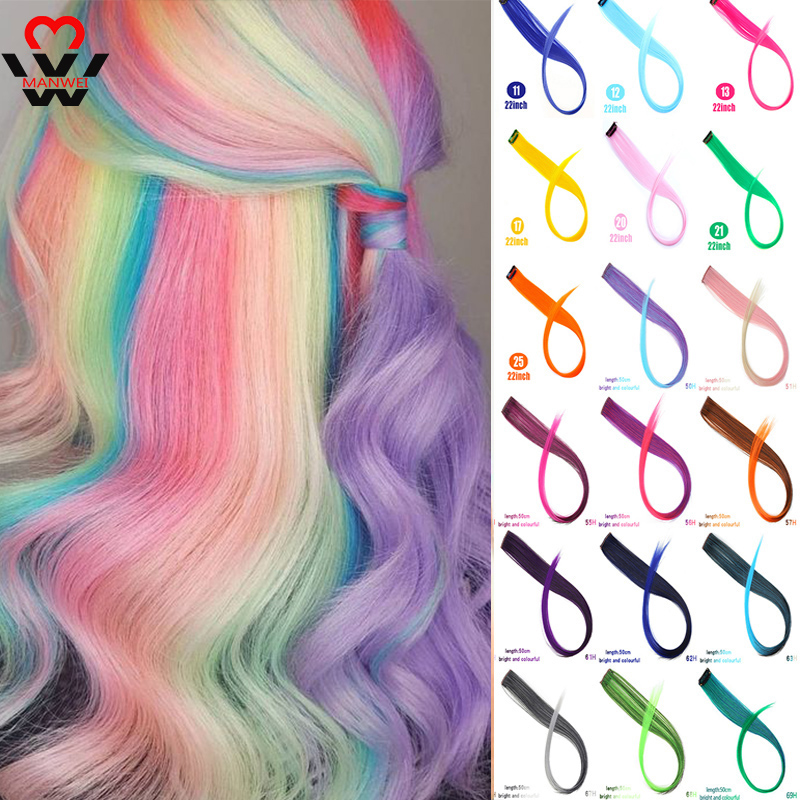 MANWEIColored Clip In One Piece Rainbow Halo Hair Extension For Braids Ombre Pink Hairpiece Fake Synthetic Hair Piece Ins