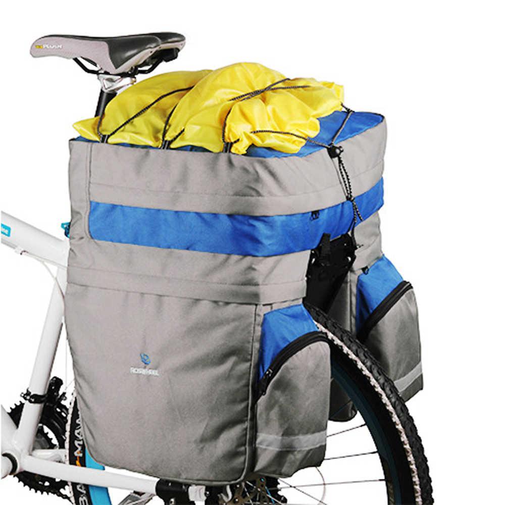 60L ROSWHEEL MTB Bicicleta Tronco Bagagem Saco Pannier Banco Traseiro de Dupla Face de Ciclismo Bicicletas Saco com Capa de Chuva 3- in-1 À Prova D' Água