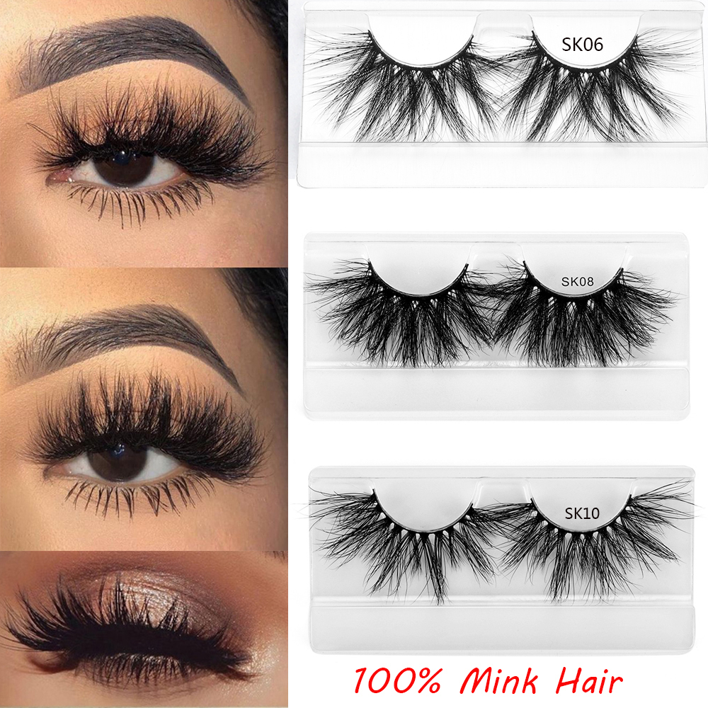 Dramtic Long Wispies Fluffy Handmade Eyelash 25MM Lashes 3D 100% Mink Hair False Eyelashes Full Strips Lashes Extension Makeup