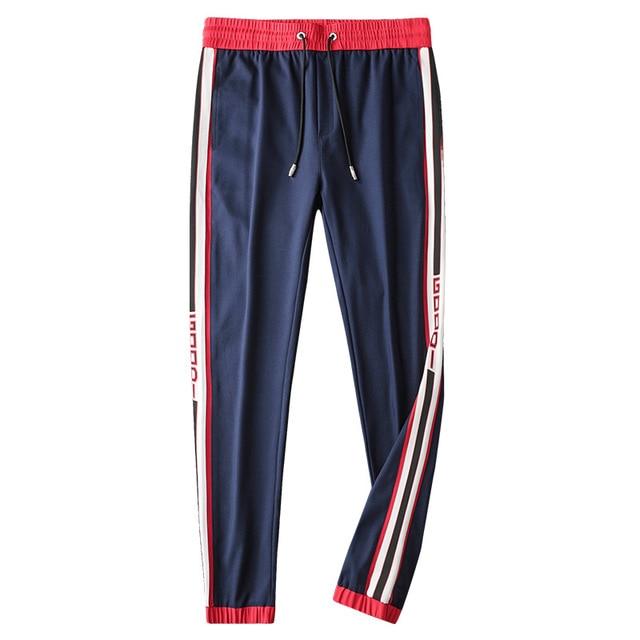 Mens Breathable Jogger Pants New Drawstring Sports Track Pants Men Street Fashion Side Stripe Designer Joggers Casual Trousers 17