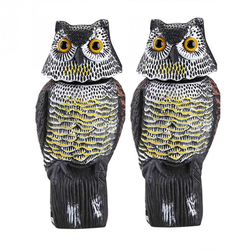 Realistic Plastic 360 Degree Rotate Head Fake Owl Decoy Repellent Bird Scarer Outdoor Garden Yard Decor Pest Control Repellents