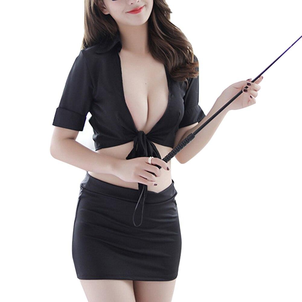 2019 Women Cosplay Uniform Secretarial Teacher Cosplay Teasing Passion Nightwear Suit Mini Tops Hips Skirt DC116