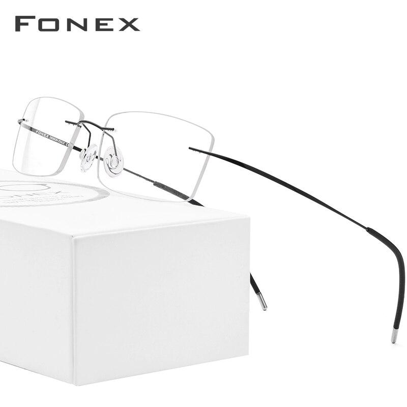 FONEX Rimless Titanium Alloy Glasses Men Ultralight Square Eyeglasses Frame Man Prescription Myopia Optical Frame Eyewear 76127