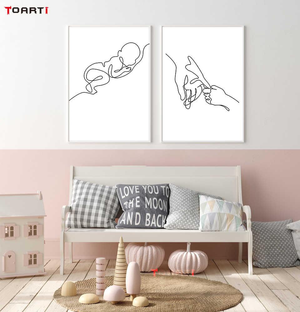 Abstrakte Mutter und Baby Halten Hände Linie Zeichnung Nordic Poster Drucke Familie Moderne Leinwand Malerei Wand Kunst Schlafzimmer Wohnkultur