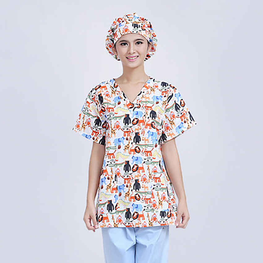 Plus Size Medical Uniform Cartoon Animal Clinical Uniforms Women Hospital Work Wear Surgical Suit Nurse Lab Scrubs Costume Cap