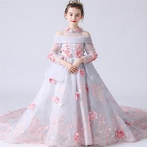 Robe à fleurs de haute qualité pour filles | Tenue princesse luxueuse, motif floral, pour fête d'anniversaire cérémonie, robe longue, modèle Catwalk, tenue d'hôte, pour enfants