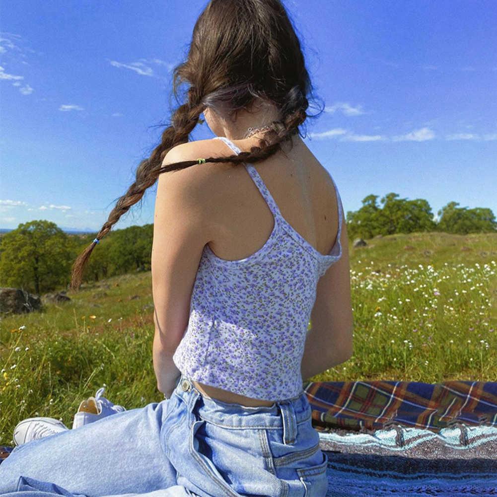 뜨거운 E-소녀 스파게티 스트랩 꽃 그래픽 자른 탑스 Y2K 패션 인쇄 Backless 보라색 Camis 탑스 세련된 여름 귀여운 탱크